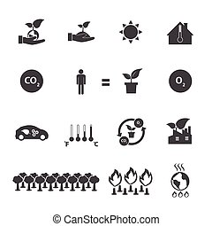 Save the world, Ecology icons set.