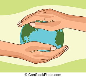 save the world environmental poster with hands lifting earth planet