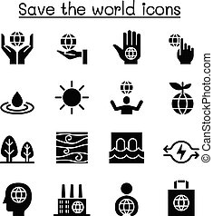 Save the world icon set