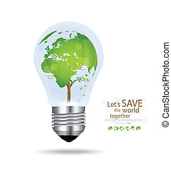 Save the world, Light bulb with tree shaped world map inside...
