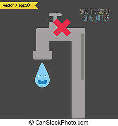 Save the world. Save water. Concept