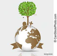 Save the world, Tree on a deforested globe. Vector illustration.