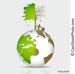 Save the world, Tree on a deforested globe and green globe....