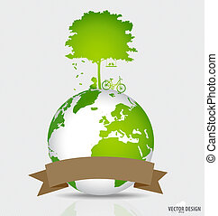 Save the world: Tree shaped world map on a globe. Vector illustration.