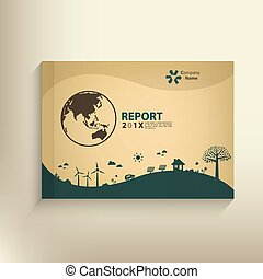 Save the world vector CSR report Cover design for GO green...