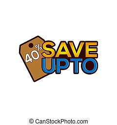 Save up to 40 percent icon stock-vector