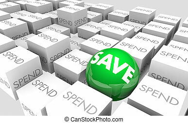 Save Vs Spend Budget Money Savings 3d Illustration