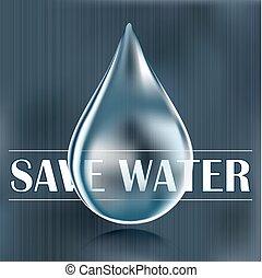 Save water, blue water drop, water saving