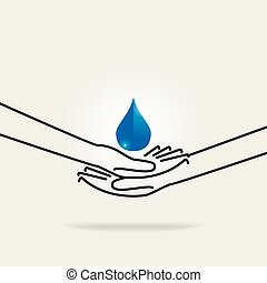 save water concept by hand saving water