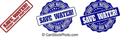 SAVE WATER EVERY DROP MATTERS Scratched Stamp Seals