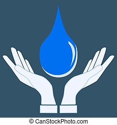 Save Water, hand hold water drop vector icon