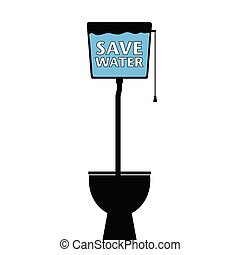 save water on a toilet vector