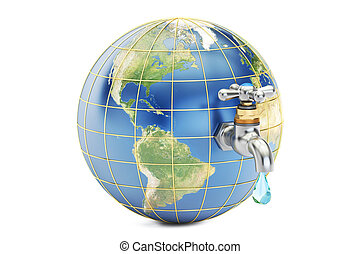 Save water, save earth concept. 3D rendering
