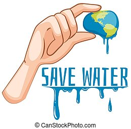 Save water sign with earth being squeezed