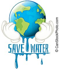 Save water sign with earth melting