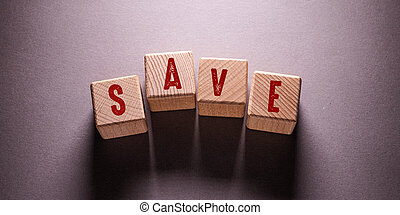 Save Word with Wooden Cubes