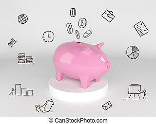 Save your money, concept of time or financial management.