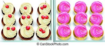 saveurs, été, petits gâteaux, fraise, cerise, vanille,...