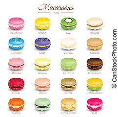 saveurs, vecteur, coloré, macarons