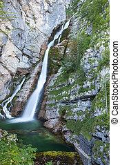 Savica waterfall, Bohinj Lake, Slovenia.