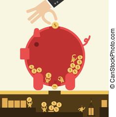Saving concept. - Put coin in piggy bank but got stolen....