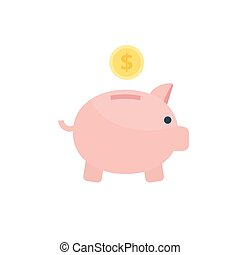 Saving concept illustration. Vector money box Icon in flat style.