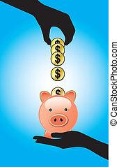 Saving Dollars in a Piggy