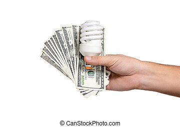 Saving energy bulb with money