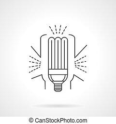 Saving energy lamp flat line vector icon