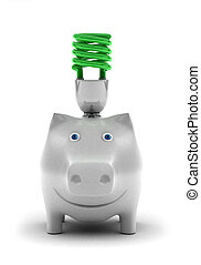 Saving energy - Happy piggy bank, smiling about conserving...