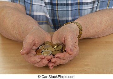 Saving - Female senior with money - isolated on white ...