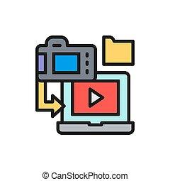 Saving film to laptop, cinema strip flat color line icon.