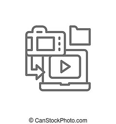 Saving film to laptop, cinema strip line icon.