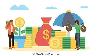 Saving finance, money business concept, vector illustration. Coin investment design, cash and flat currency economy save.