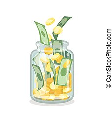 Saving flat money jar on white background