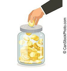 Saving flat money jar with hand hoding coin