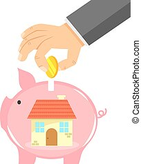 saving for a house - hand dropping coin into a piggybank...