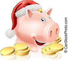Cartoon Christmas piggy bank with Santa hat on and gold coins. Concept for saving money for Christmas or Christmas club fund.
