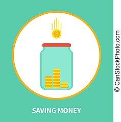 Saving Money Cartoon Banner with Holding Box Icon