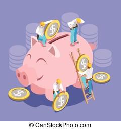Saving Money Concept Isomeric