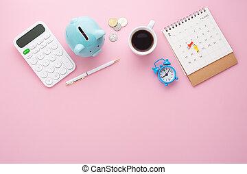 Saving money concept on pink background