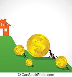 saving money concept show small ant