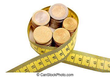 Digital photo of euro coins and a tapeline.