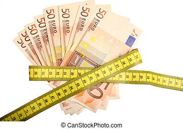 Digital photo of money and a tapeline that means that someone needs to tighten one's belt.