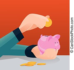 Saving money for future investment concept, Man putting coin in piggy bank - Vector illustration