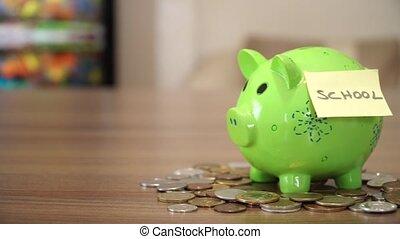 Money for School - Saving Money for School in Piggy Bank