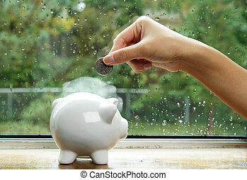 Saving money for the rainy day concept