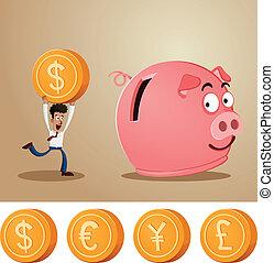 an office worker saving money into smiling piggybank