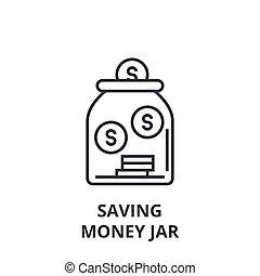 saving money jar line icon, outline sign, linear symbol, vector, flat illustration