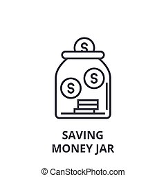 saving money jar line icon, outline sign, linear symbol, vector, flat illustration